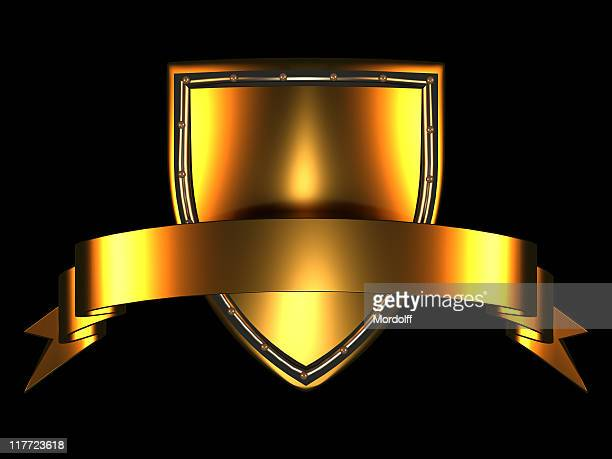 Gold Shield and Banner on black background