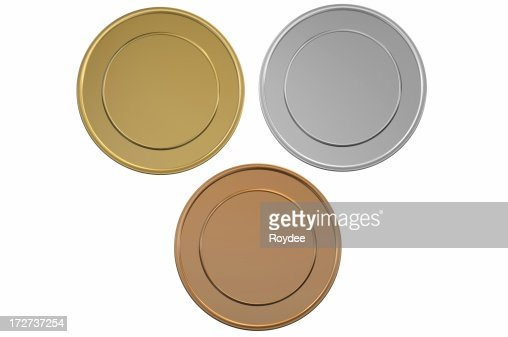 Gold Silver and Bronze blank medals/coins