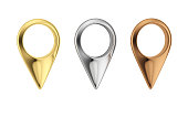 Gold, silver and bronze map pointers. Set of metal pin icon. Map markers isolated on white bacground.