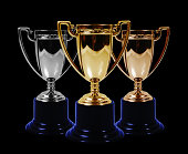 Gold silver and bronze trophies