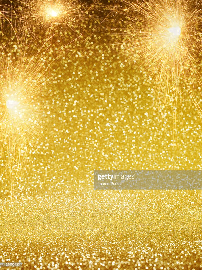 Gold Sparkling Stage with Fireworks : Stock Photo