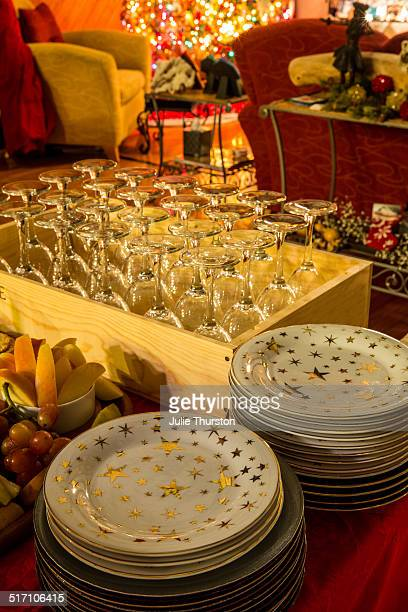Gold Star Dishes and Wine Glasses For Party