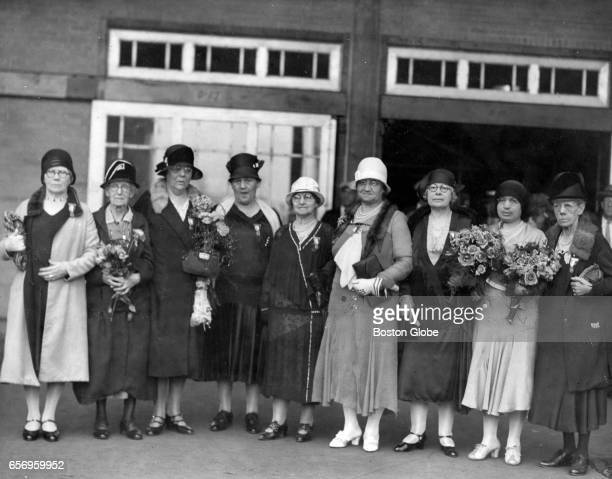 Gold Star Mothers leaving for France at South Station June 24 1930 Left to right Mrs Ella A Sproul Catherine Brophy Marie Berrior [sp] Olive Pellipas...