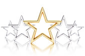 Gold and silver stars on white background