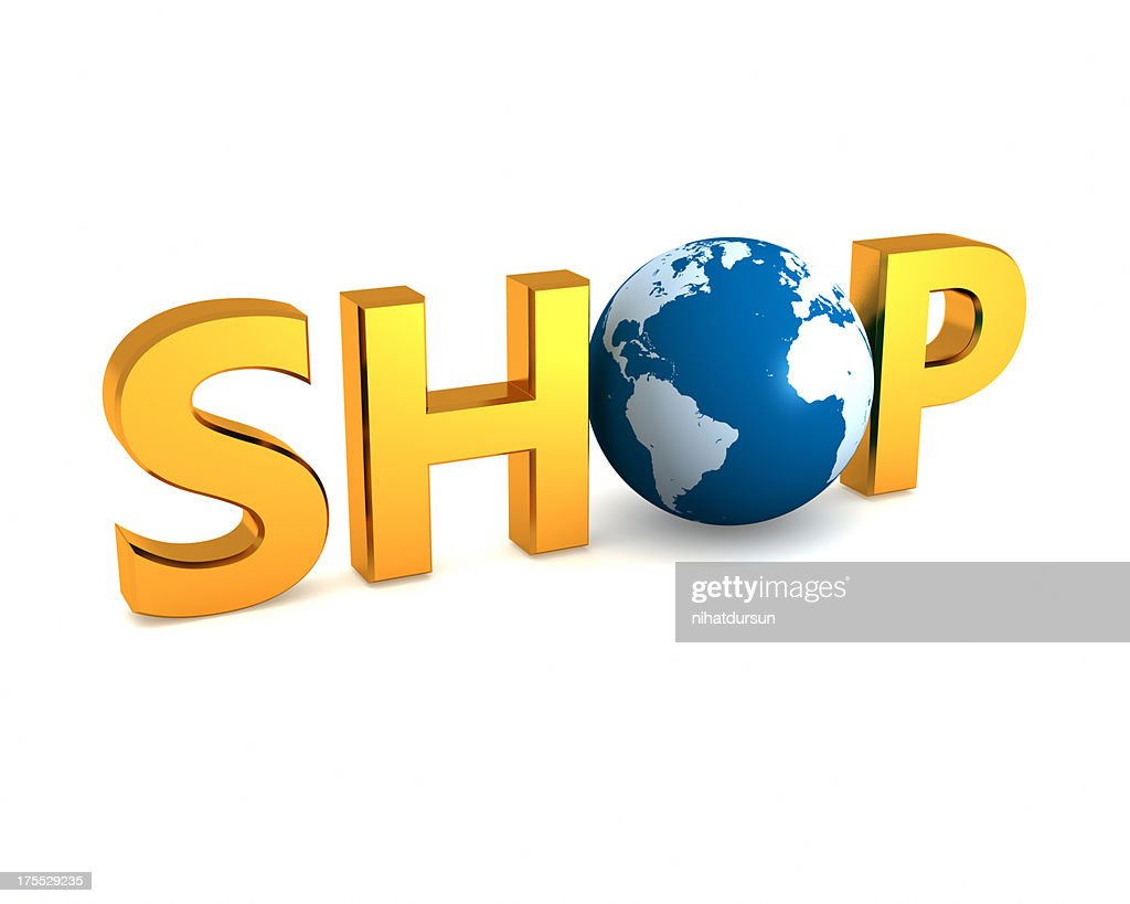 Gold text word SHOP with globe