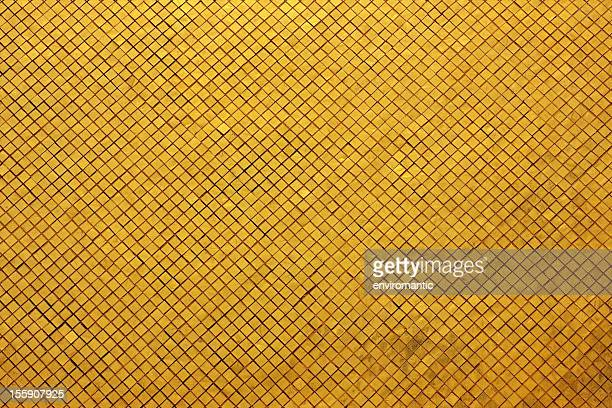 Gold tile mosaic background.