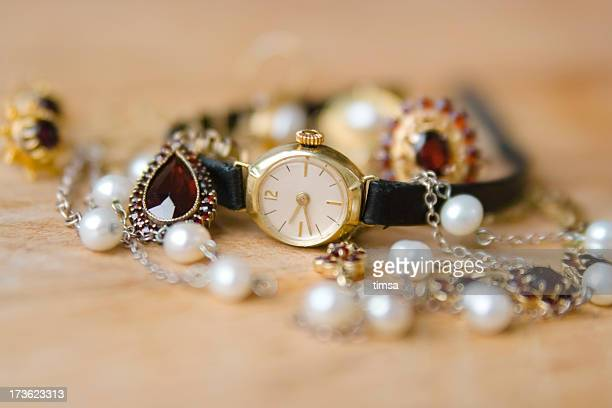 Gold watch and jewelry