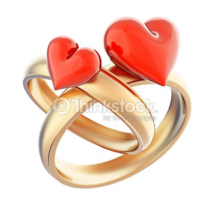 42d50ecef Gold Wedding Rings With Glossy Red Hearts Isolated On White Stock ...