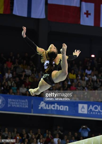 Gold winner Catalina Ponor of Romania performs on the balance beam of apparatus final for the European Artistic Gymnastics Championship in Cluj...