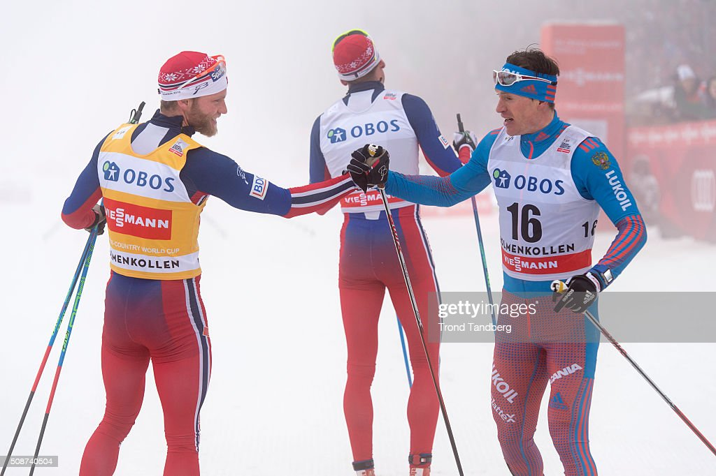 Gold winner Martin Johnsrud Sundby of Norway doing handshake with bronse winner Maxim Vylegzhanin of Russia during the Cross Country Men 5.0 km Mass Start Classic on February 06, 2016 in Oslo, Norway.