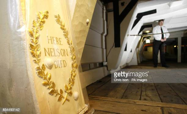 A gold wreath marks the spot aboard HMS Victory in Portsmouth Hampshire where for 200 years the Royal Navy thought Admiral Lord Nelson died But the...