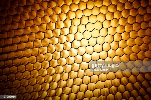 Gold yellow honeycomb grid mesh background texture