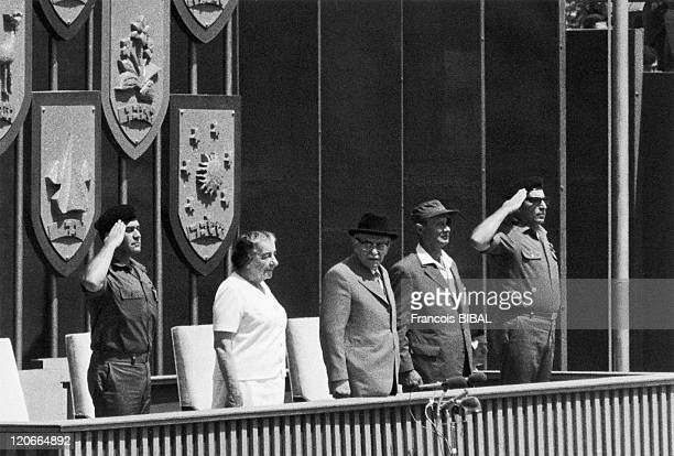 Golda Meir Zalman Shazar and Moshe Dayan in Tel Aviv Israel on May 07 1973 The Prime Minister of Israel Golda Meir the president Zalman Shazar and...