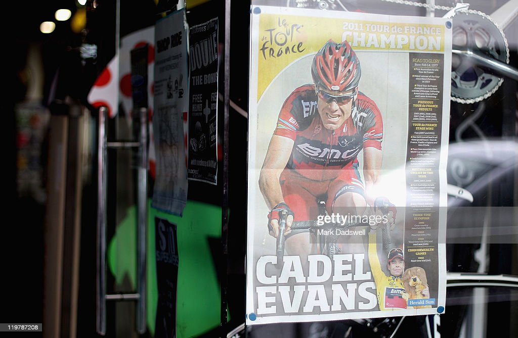 Goldcross Cycles in Puckle Street, Moonee Ponds displays a poster celebrating Cadel Evans win in the Tour de France on July 25, 2011 in Melbourne, Australia. Cadel Evans last night became the first Australian to win the Tour de France.