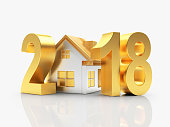 Real estate concept. Golden 2018 New Year and house isolated on white background. 3D illustration