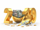 Golden 2019 New Year and broken Christmas ball with dollar bills inside on white background. 3D illustration