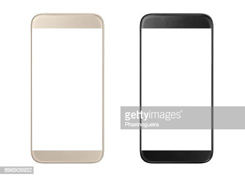 Golden and black modern smartphones : Stock Photo