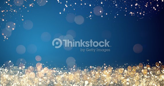 golden and silver xmas lights on blue background for merry christmas or season greetings message,bright decoration.Elegant holiday season social post digital card.Copy type space for text or logo : Stock Photo