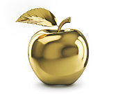 Golden apple isolated on white background. 3D rendering with clipping path