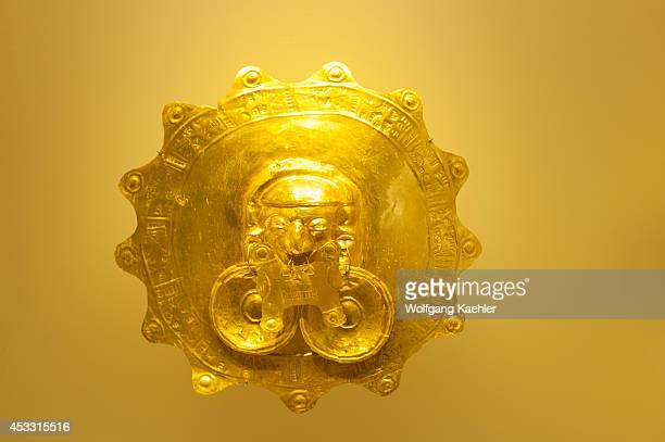 Golden artifact from Yotoco Malagana tribe in the Gold Museum in La Candelaria the old town of Bogota Colombia