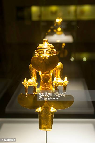 Golden artifact in the Gold Museum in La Candelaria the old town of Bogota Colombia