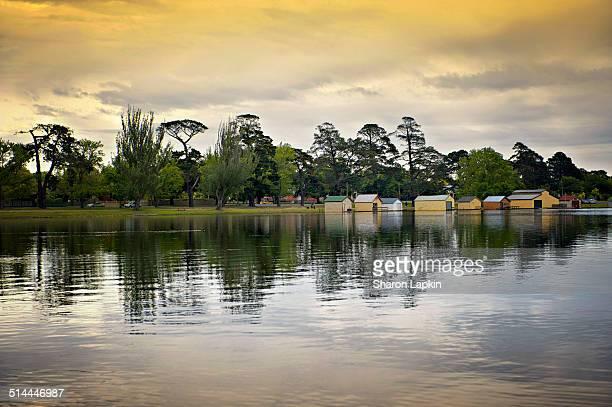 Golden autumn sunset on lake