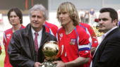 OUT== Golden Ball winner and the Czech Republic's player of the year for 2003 Pavel Nedved holds his trophy 28 April 2004 before international...