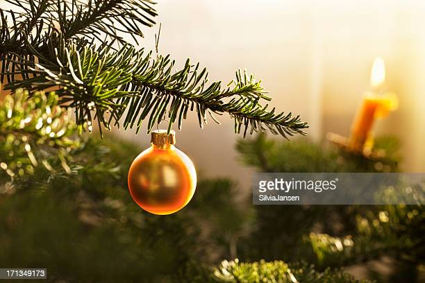 golden bauble in christmas tree
