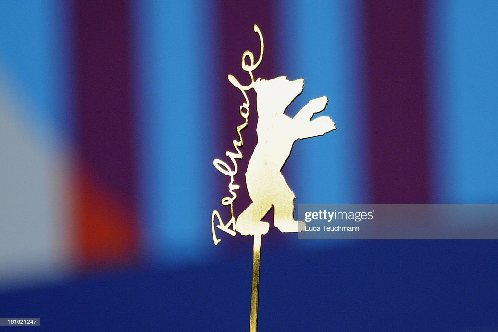 A golden Berlinale Logo seen at the 'Night Train to Lisbon' Press Conference during the 63rd Berlinale International Film Festival at the Grand Hyatt Hotel on February 13, 2013 in Berlin, Germany.