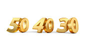 50 40 30 golden bold numbers 3d-illustration