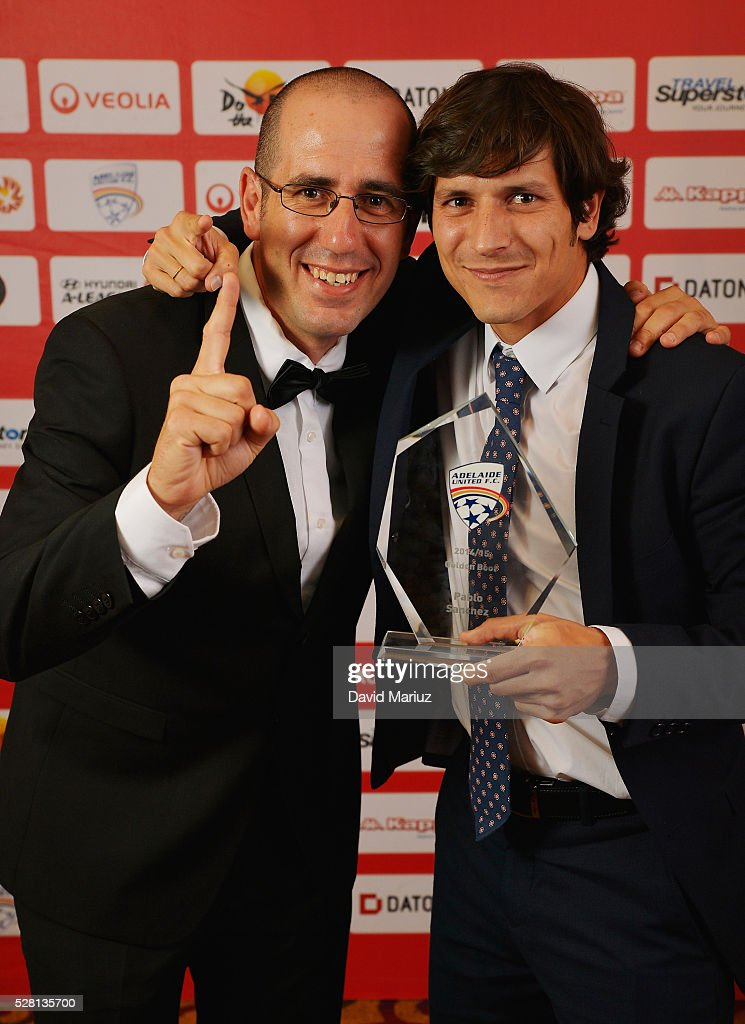 Golden boot winner from 2015 Pablo Sanchez with United fan Steve Cervro during the 2016 Adelaide United Awards Night on May 4, 2016 in Adelaide, Australia.