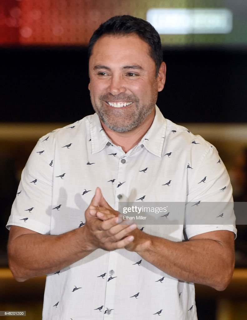 Golden Boy Promotions Chairman and CEO Oscar De La Hoya attends the arrivals event for WBC, WBA and IBF middleweight champion Gennady Golovkin and Canelo Alvarez at MGM Grand Hotel & Casino on September 12, 2017 in Las Vegas, Nevada. Golovkin will defend his titles against Alvarez at T-Mobile Arena on September 16 in Las Vegas.