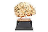 Golden Brain, gold award. 3D rendering isolated on white background