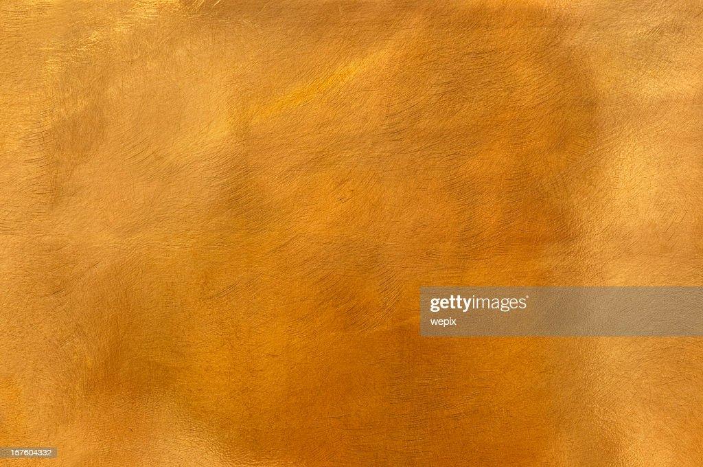 Golden brass metal plate background textured surface XL : Stock Photo