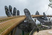 Golden Bridge in Ba Na Hills,Bana hills french village in Da nang , Vietnam