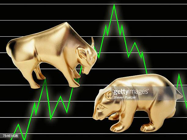 Golden Bull and Bear figurines against financial chart background (digital composite)
