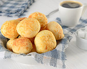 Typical Brazilian snack, cheese breads and black coffee