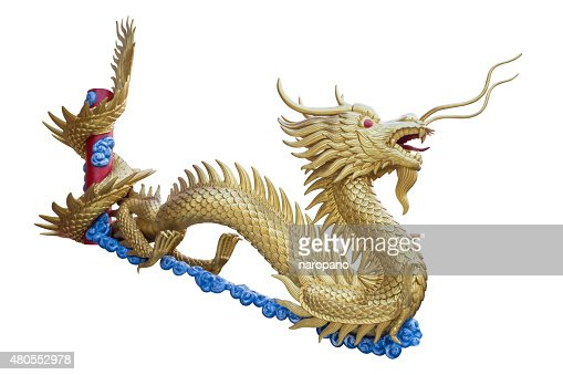 Golden Chinese dragon isolate on white background. : Stock Photo