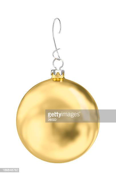 Golden Christmas Ball on White Background, with Clipping Path (XXXL-33MPx)