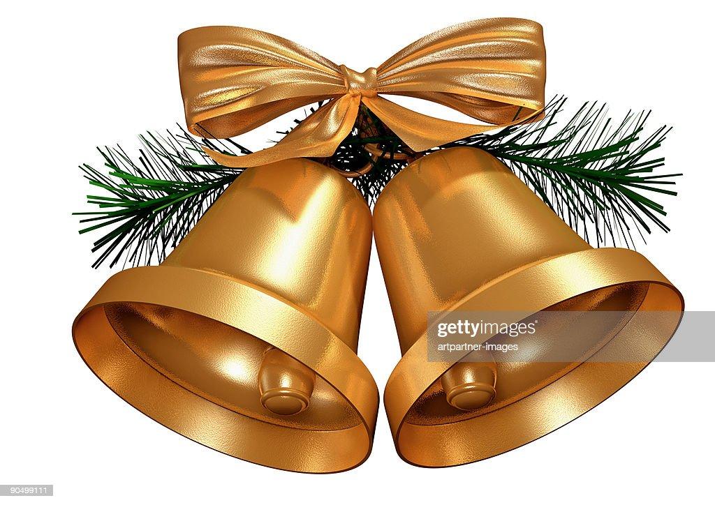 Golden Christmas Bells on White Background