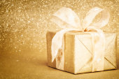 Golden Christmas Gift Box