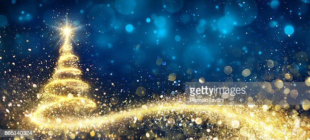 Golden Christmas Tree In Abstract Night : Stock Photo