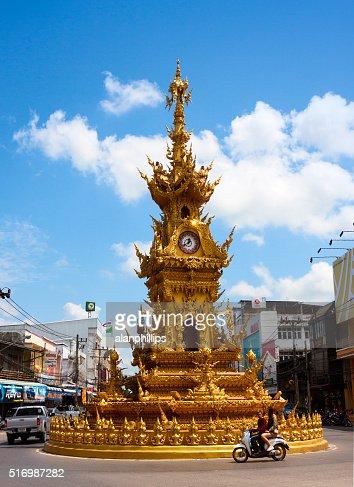 Golden clock tower in Chiang Rai - Thailand