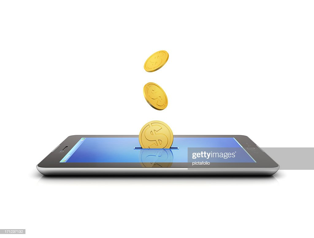 coins and tablet making money