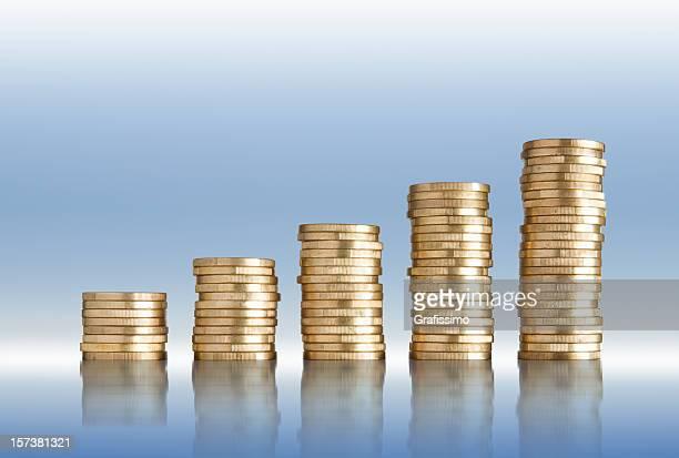 Goldenen Münzen des Euro in Rastern