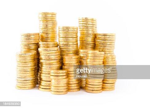 golden coins on white