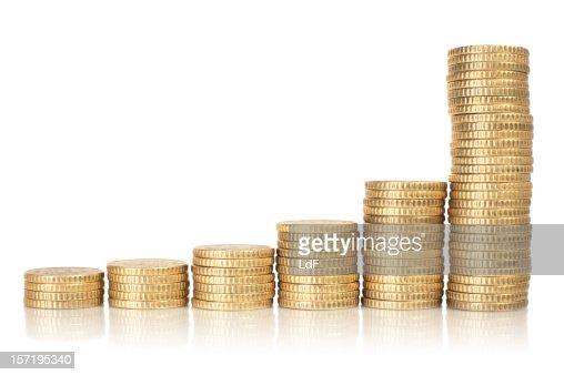 Golden coins raising chart