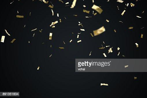 Confeti de oro aislada sobre fondo negro. 3D prestados ilustración. : Foto de stock