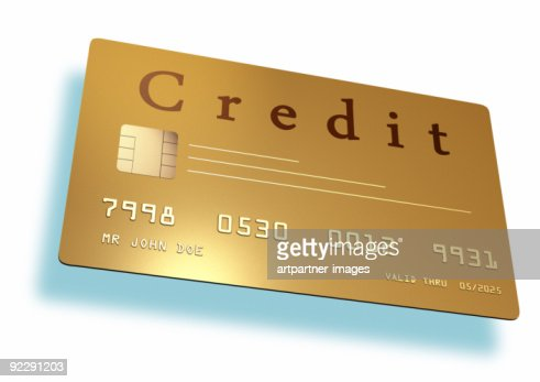 Golden Credit Card On White Background