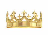 Golden crown isolated on white. 3D rendering with clipping path